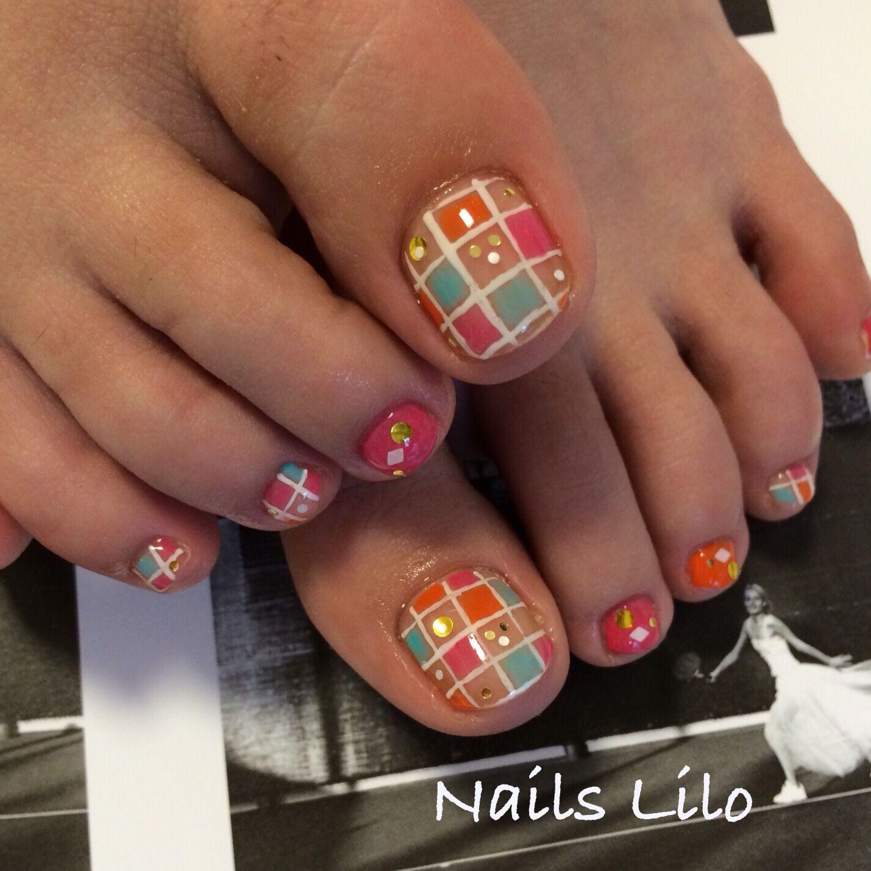 #Nails Lilo @Kyoto #Lilo original nail art #block colorful