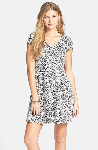Frenchi® Frenchi Cheetah Jacquard Skater Dress (Juniors) available at #Nordstrom
