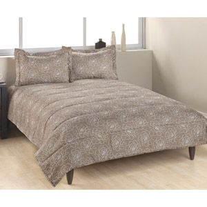 Brown Floral Down Alternative Printed Comforter Set For