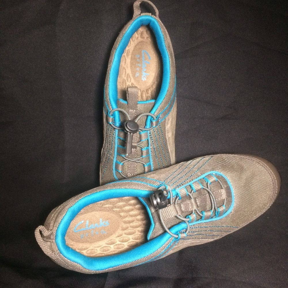 dfbe2ebe6 Clarks Privo Walk Sport Tennis Shoes Womens 7.5 Leather Trim Gray Bright  Blue  PrivobyClarks  Tennis