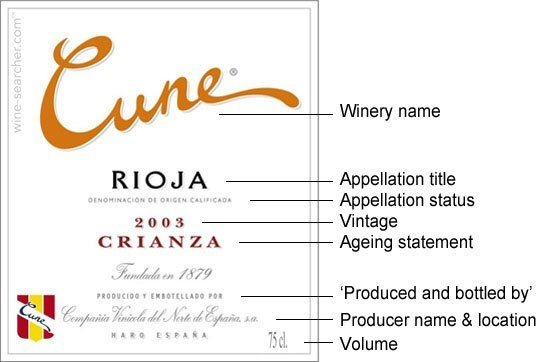 Spanish Wine Label The website link contains laws and regulations - wine label