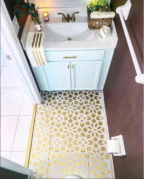 Kerala Tile Stencil In 2020 Floor Makeover Bathroom Flooring Diy Bathroom Makeover