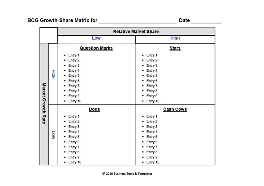 Boston Consulting Group Matrix Ms-Word Template | IT | Stock market