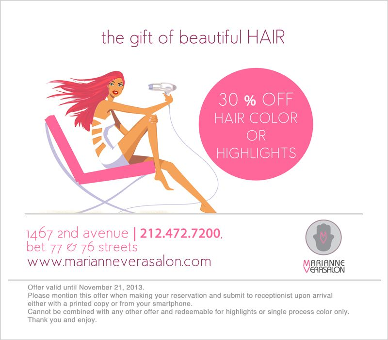 30 Off Hair Color Or Highlights Until Nov 21 2013 Salon Promotions Hair Color