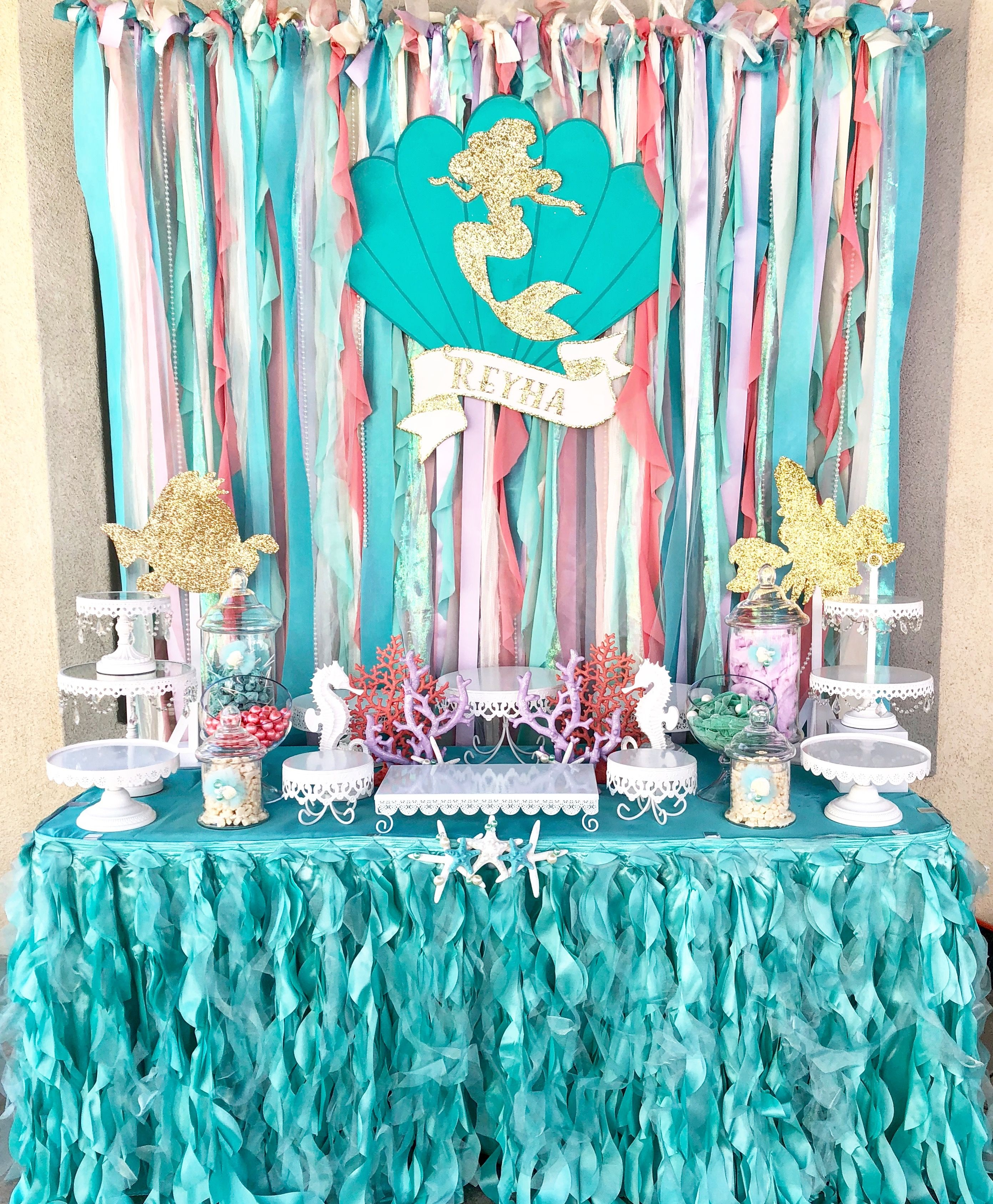 Little Mermaid Candy Buffet By Bizzie Bee Creations Candy Buffet Buffet Table Decorations