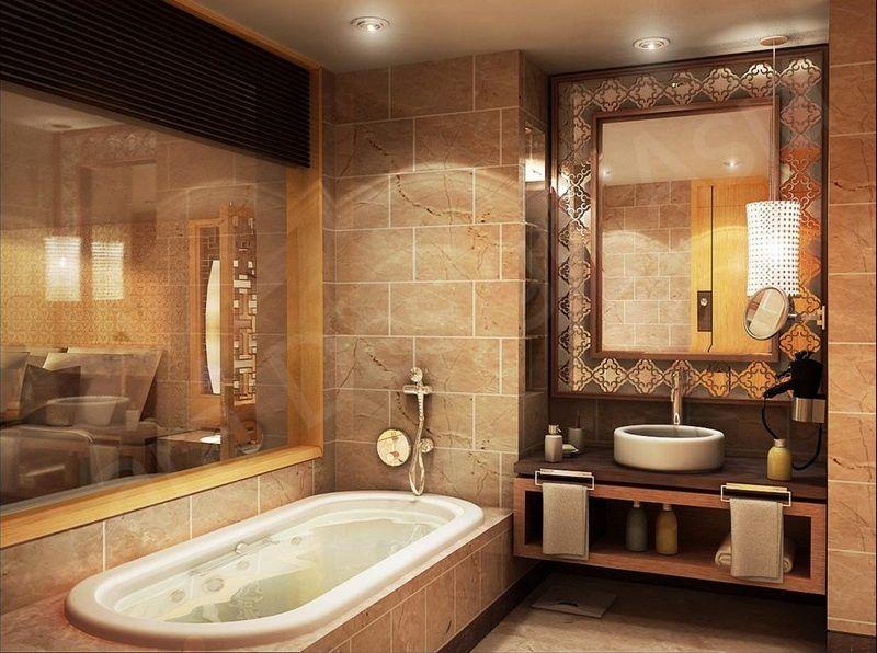 salle de bain rtro carrelage meubles et dco en 55 photos - Salle De Bain Orange Et Beige