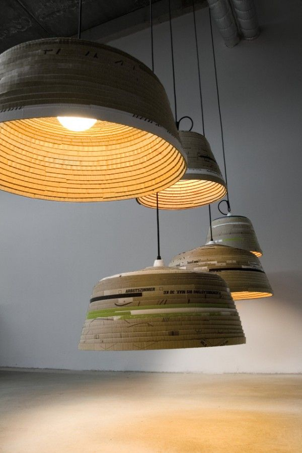 Michael wolke cardboard lamp german designer michael wolke creates this amazing line of recycled pendant lighting his beute lamp is hand made from