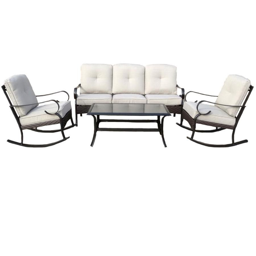 Lowes Outdoor Table And Chairs Garden Treasures Arbington 4 Piece Steel Patio Conversation Set