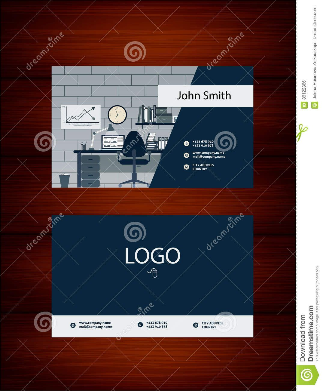 Modern Business Card Template With Office Background Stock Regarding Office Max Modern Business Cards Business Card Template Business Cards Creative Templates