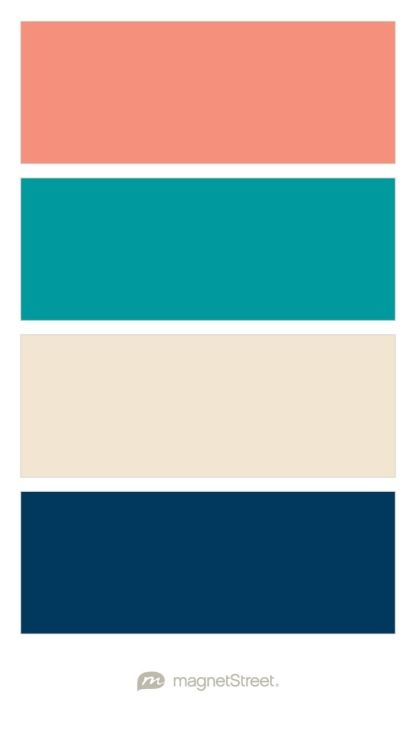 Coral Teal Champagne And Navy Wedding Color Palette