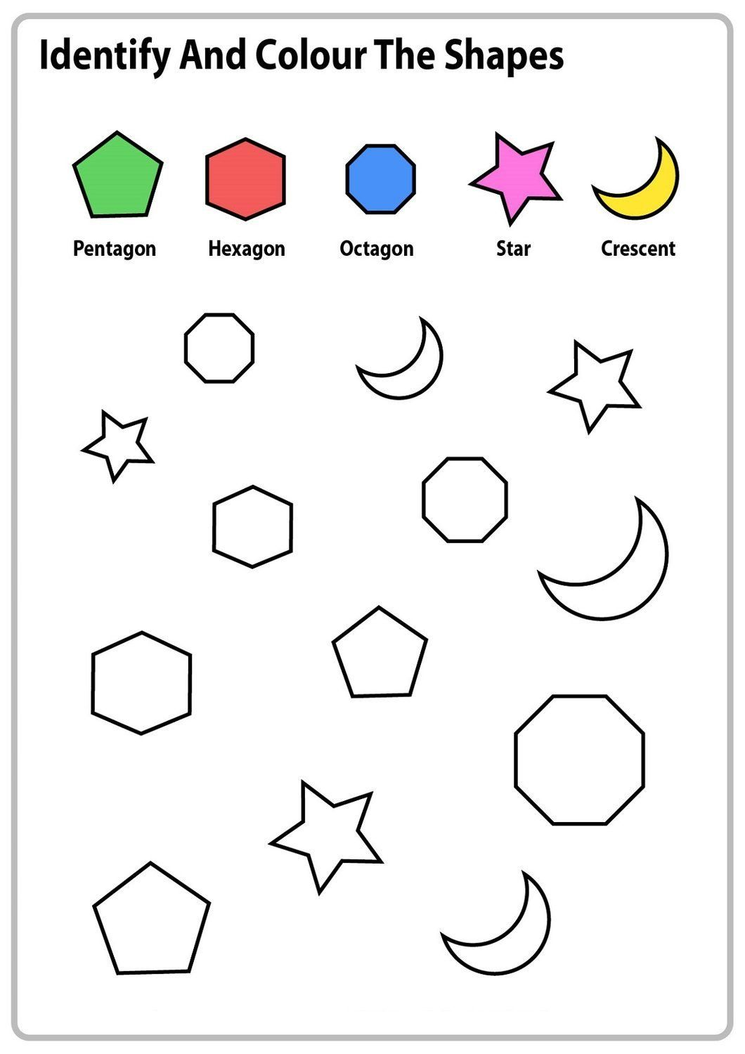 Identify Shapes Worksheet Kindergarten Color The Shapes