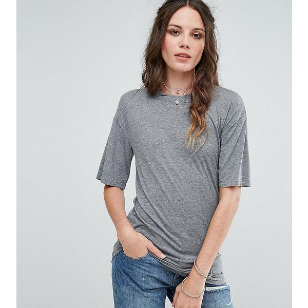 Glamorous Tall Relaxed T-Shirt With Cut Out Collar (€8,94) ❤ liked on Polyvore featuring tops, t-shirts, grey, grey t shirt, cut out tee, cut out t shirt, short sleeve t shirt and crew t shirt