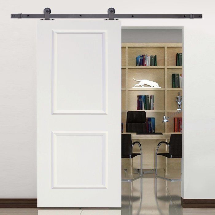 Paneled Manufactured Wood Primed Top Mount Barn Door With Installation Hardware Kit Barn Doors Sliding Interior Barn Doors Glass Barn Doors
