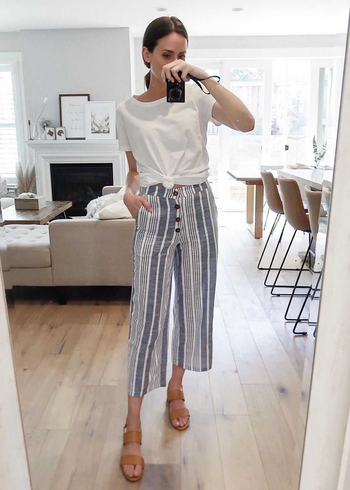 An Affordable Vacation Look with Wide Leg Crop Pants #vacationoutfits