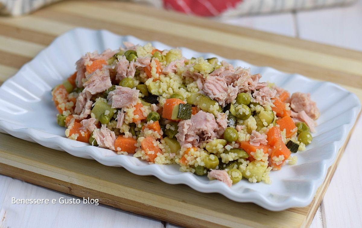 Piatti Freddi Veloci Da Asporto cous cous verdure e tonno, ricetta light facile e veloce con