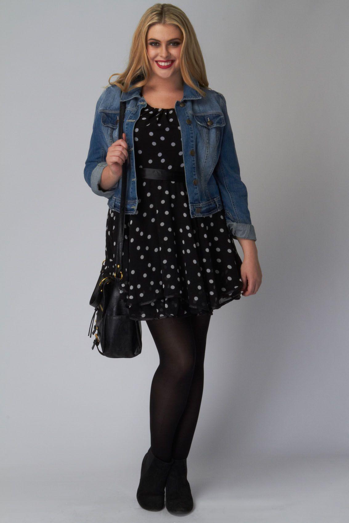 Frilled Black Dress With White Spots Plus Size 16 18 20 22 24 26 Outfits Blusas Armarios [ 1700 x 1133 Pixel ]