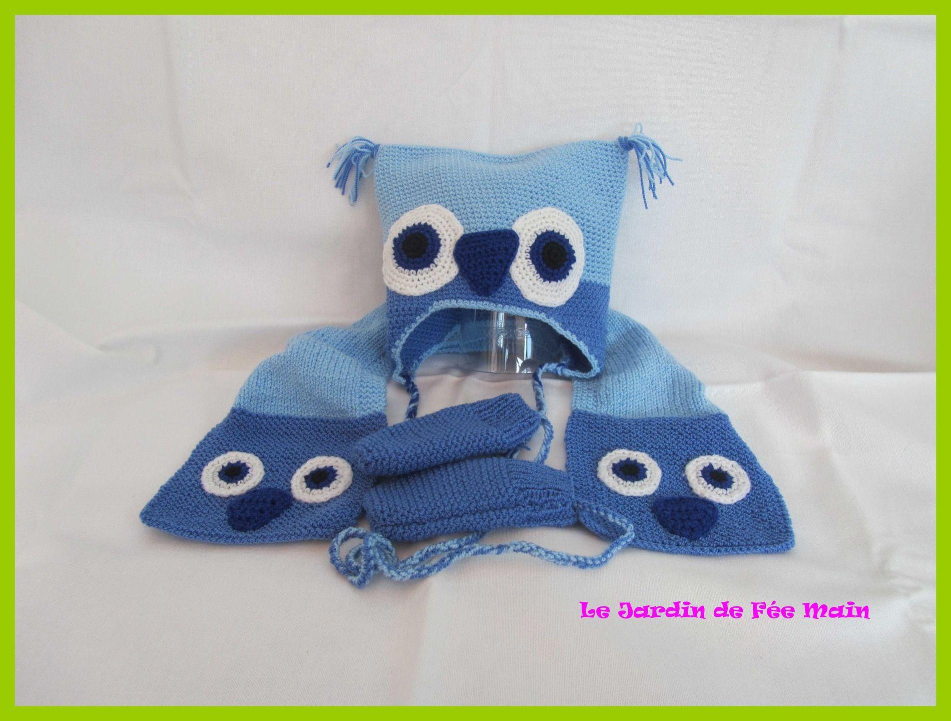 Ensemble bonnet chouette écharpe et mouffles dans un camaieu de bleu   Mode  Bébé par le-jardin-de-fee-main 6c480a7bf0d