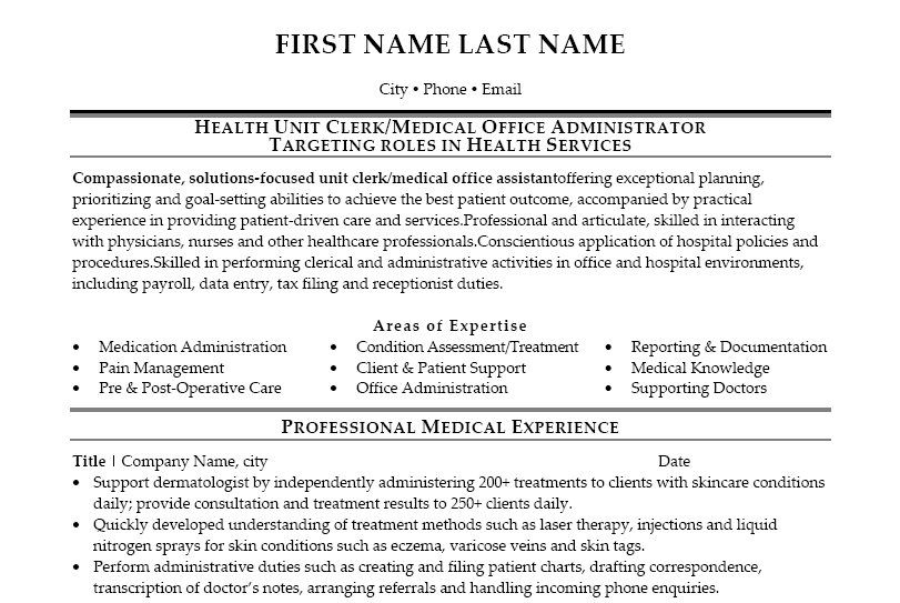 Marvelous Medical Office Resume Sample Resume For Clerk In Hospital Health Unit Clerk  Sample Resume Unit . Pertaining To Unit Secretary Resume