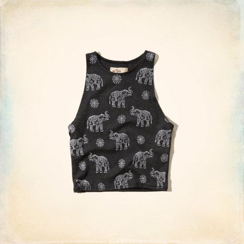 Graphic Scuba Crop Tank - Cute all over graphic pattern in the perfect crop.
