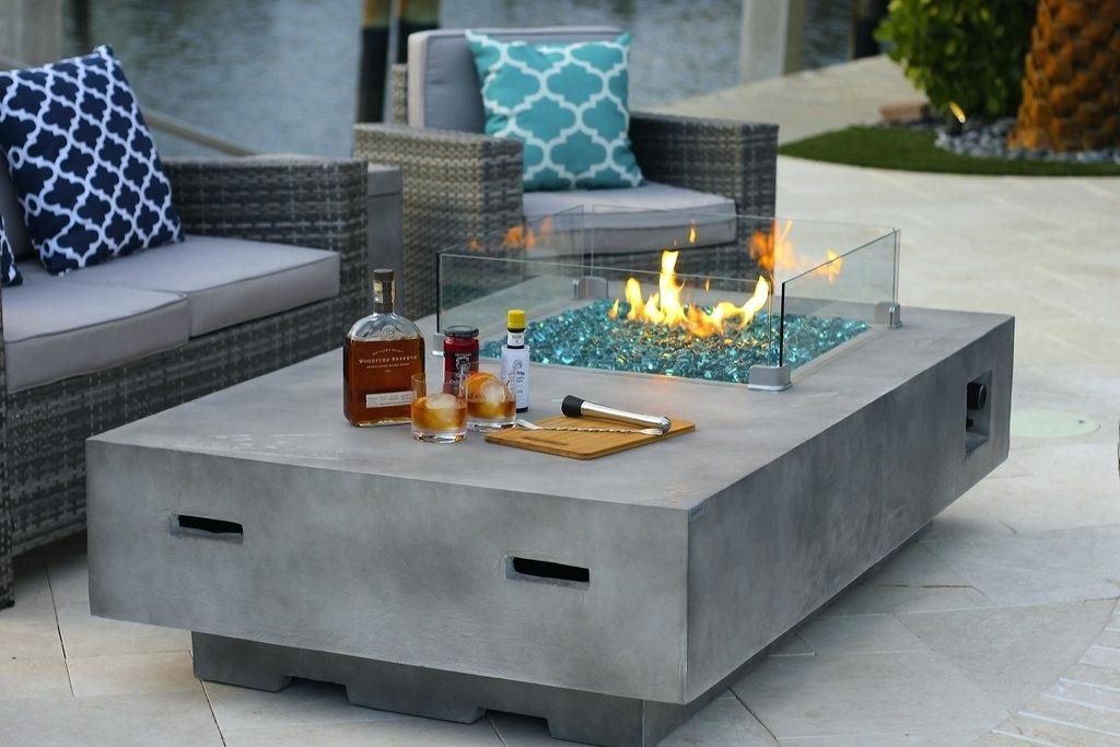 Rectangular Modern Concrete Gas Fire Pit Table In Gray Lowes Canyon Ridge W Glass Shield And Crystals Rectan Gas Fire Pit Table Fire Pit Table Modern Fire Pit