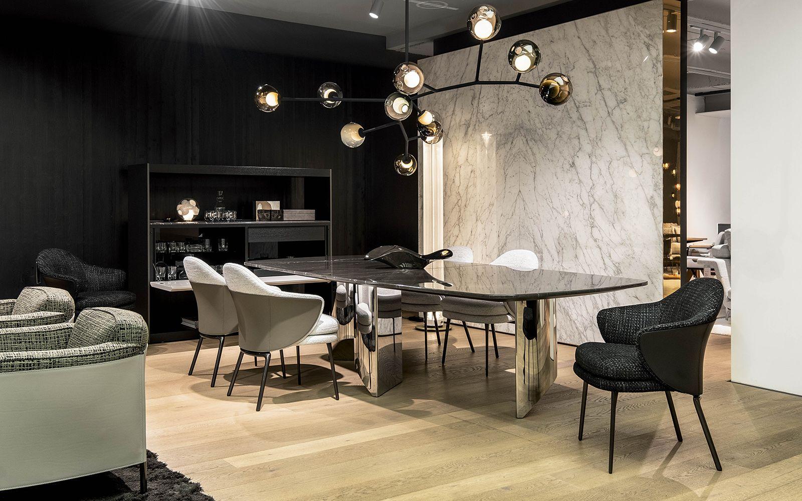 Pesch International Interiors Wedge Dining Table Nendo Design Angie Dining Chair Gamfratesi Design Minot In 2020 Luxury Interior Dining Table Chairs Interior