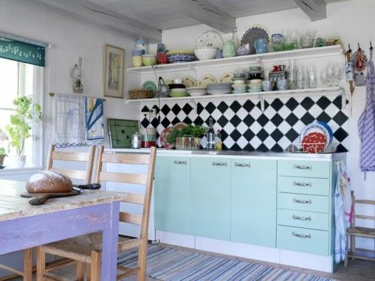 kitchen inspiration 50s style black and white backsplash - Black And White Kitchen Backsplash