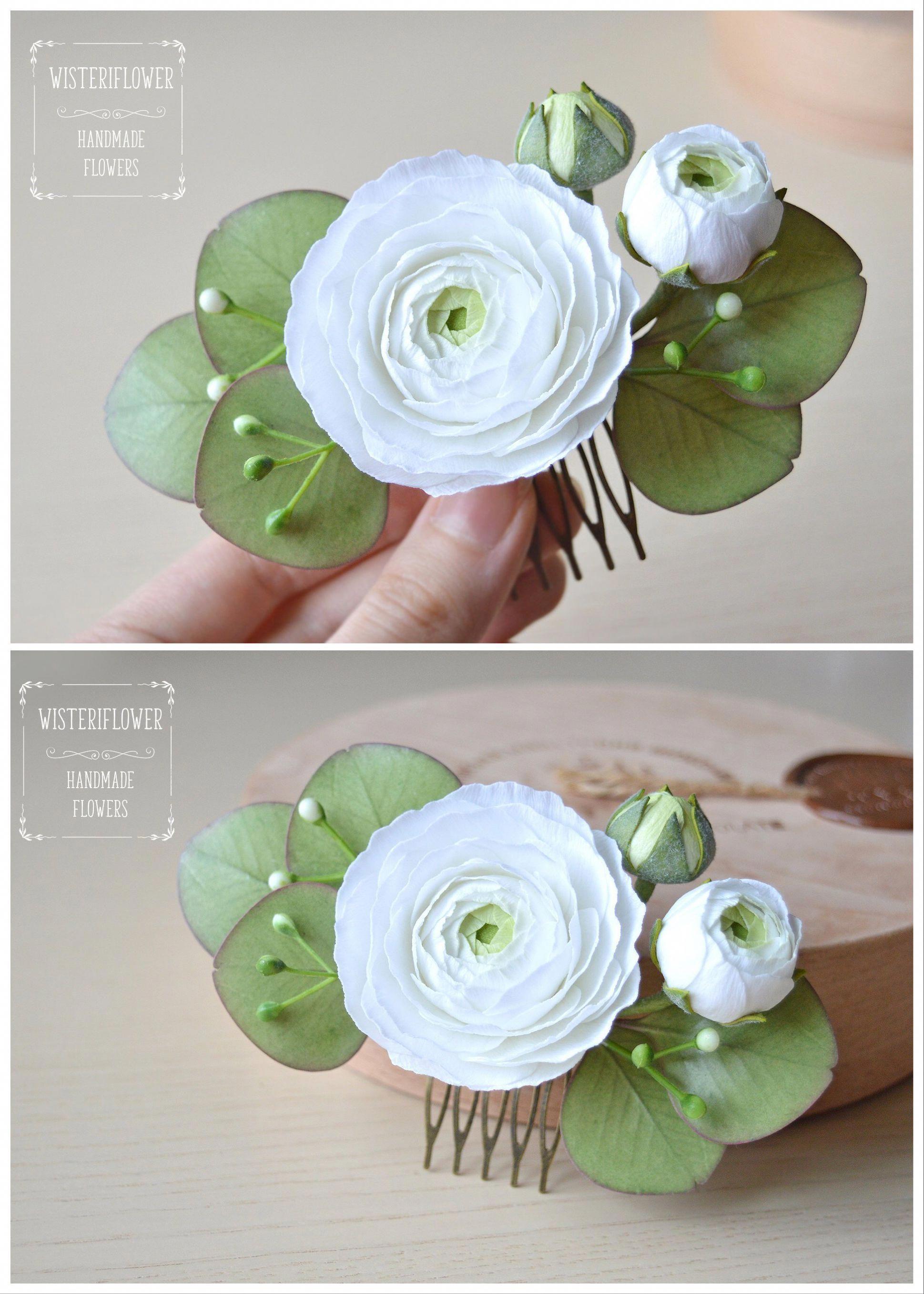 White And Green Wedding Hair Piece Eucalyptus Wedding White Flower