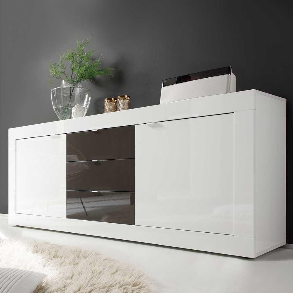 Faszinierend Weisses Sideboard Sammlung Von Wohnzimmer In Weiß Hochglanz Anthrazit Hochglanz ,wohnzimmerschrank,kommode,sidebord,wohnzimmer