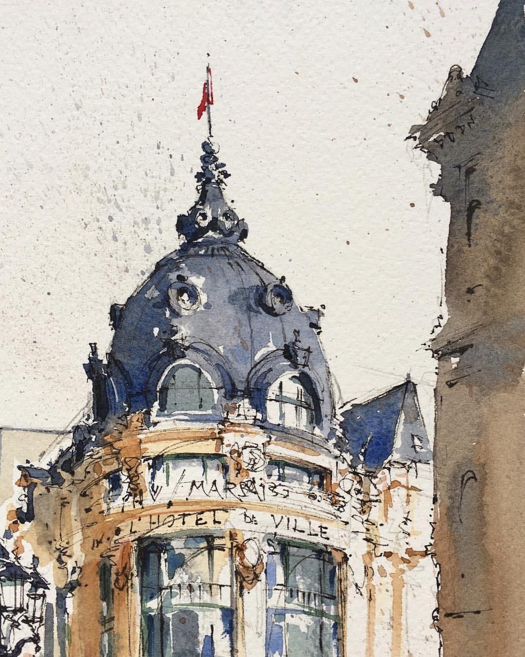 Sketching In Front Of L Hotel De Ville Paris Paris
