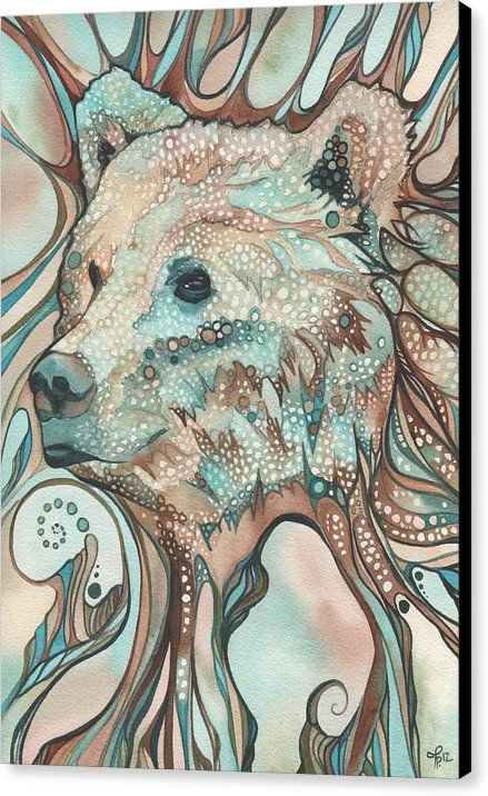 Bear Canvas Print featuring the painting The Great Bear Spirit by Tamara Phillips