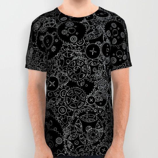 Men/'s Steampunk Machine Mechanical Cogs All Over Print V Neck T-Shirt Top Tee
