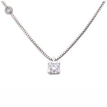 Λιτό   διαχρονικό κολιέ μονόπετρο λευκόχρυσο Κ18 με διαμάντι Brilliant 0.14  ct  dedfca64ca7