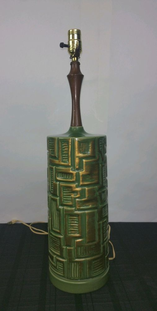 Vintage Antique Mid Century Brutalist Ceramic Green Gold