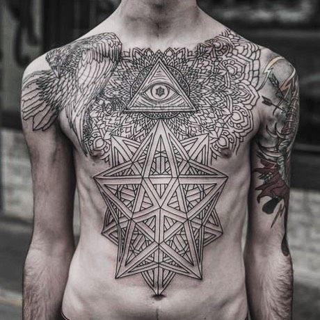 Amazing Chestpiece Tattoo Geometric Design Including