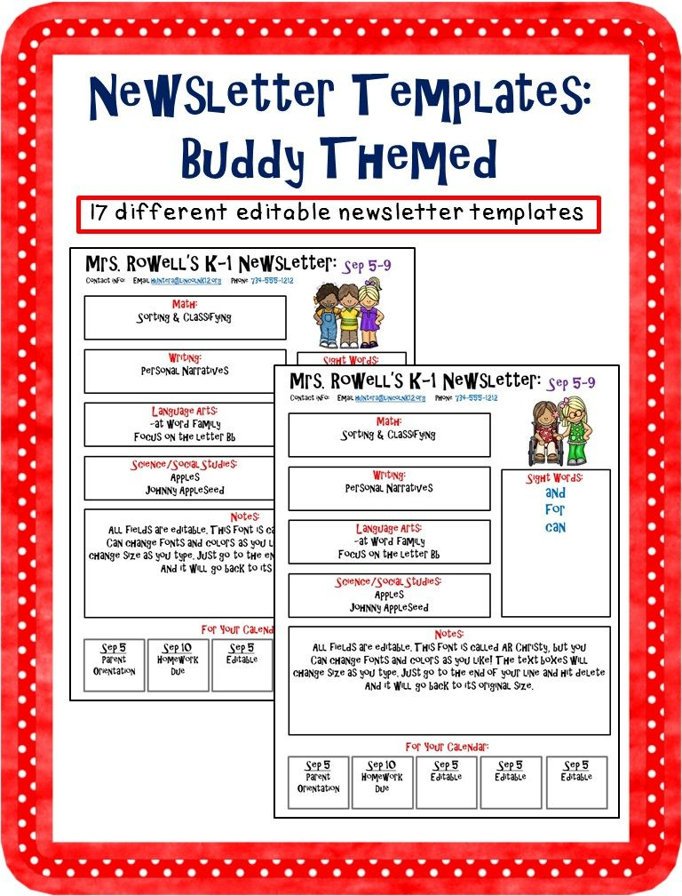 Editable Newsletter Template - Buddy Themed Newsletter templates