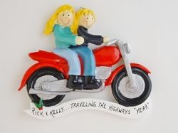 Personalized Ornament Motorcycle Couple - Blonde Hair