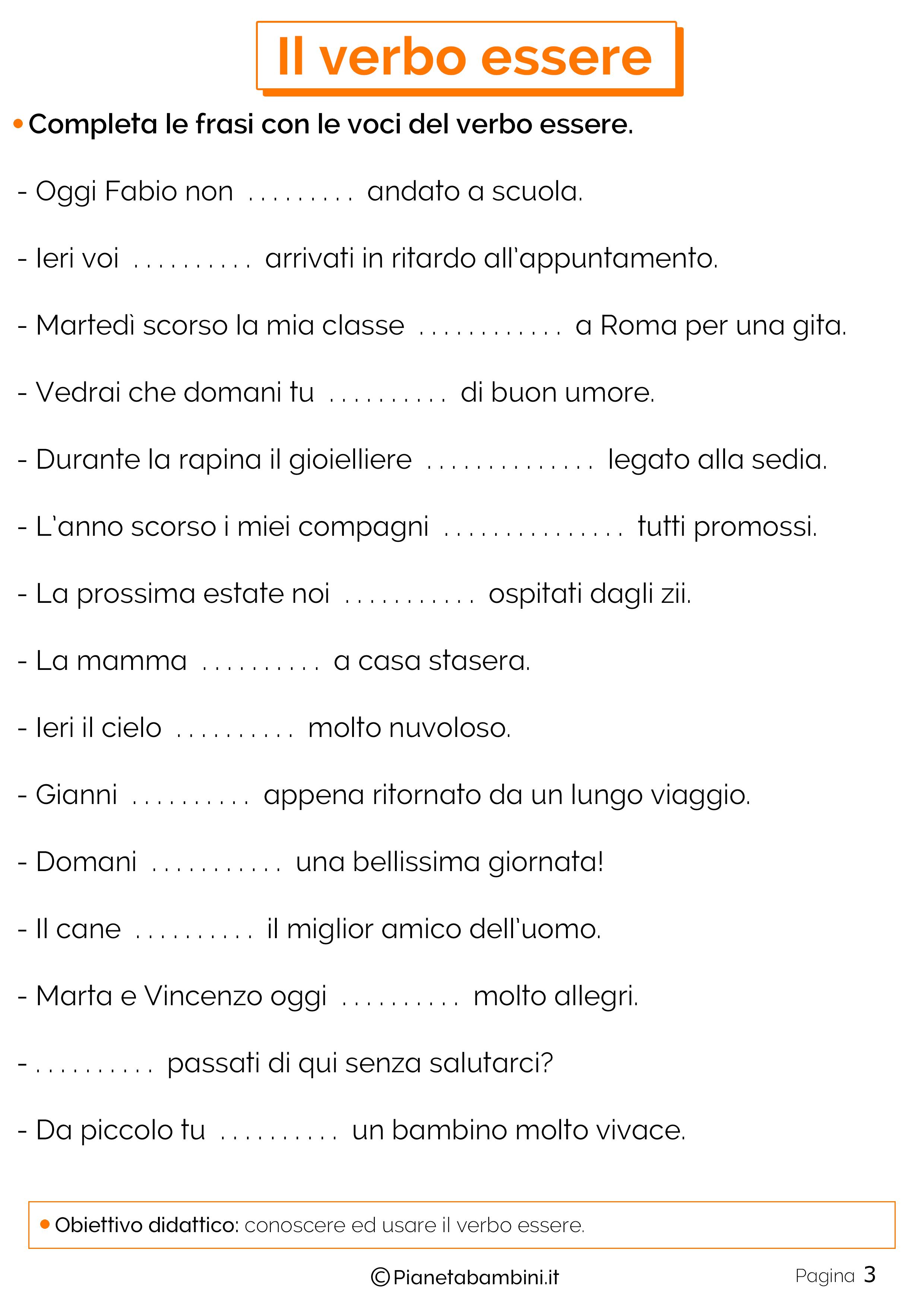 Il Verbo Essere Esercizi Per La Scuola Primaria Scuola Learning
