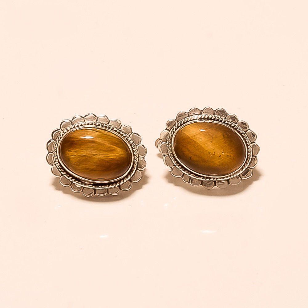 613767e27 Natural Brazilian Tiger eye Earrings Studs 925 Sterling Silver Christmas  Jewelry #Handmade #Studs #CyberMonday