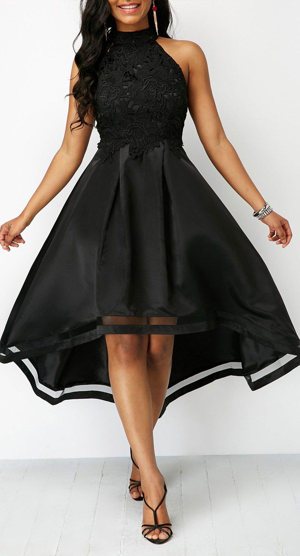 Lace Panel Sleeveless Black High Low Dress Black High Low Dress Casual Dresses Shop Casual Dresses [ 2224 x 1200 Pixel ]