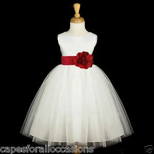 Red And White Flower Girl Dresses White Apple Cherry Red Tulle