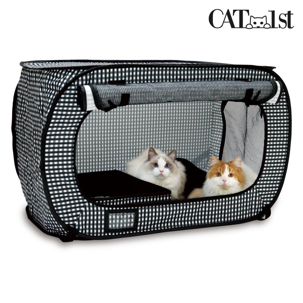 Cat1st Portable Pop Open Cat Cage Travel Drive Cage Emergency Light Weight Black Pet Supplies Cat Cages Cat Crate Outdoor Cat Cage