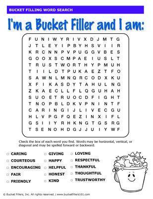 Bucket Filling Word Search #bucketfilling   Activities ...