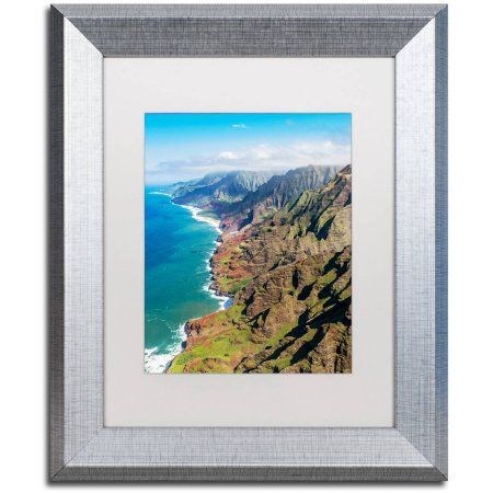Trademark Fine Art 'Napali Coast Kauai' Canvas Art by Pierre Leclerc, White Matte, Silver Frame, Assorted