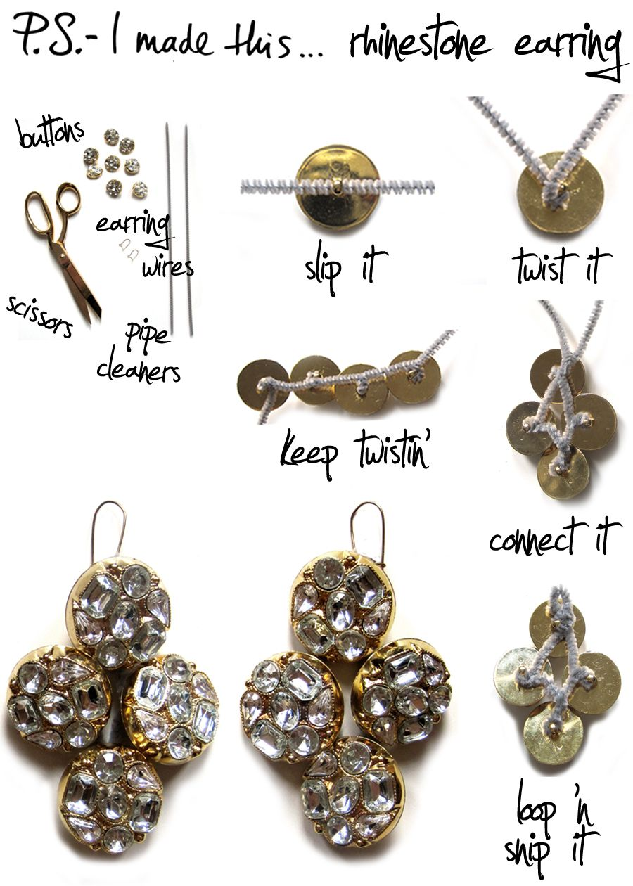 Rhinestone Earring:: To create a pair of earrings that reflect these unique and rich cultures, reach for rhinestone or mirrored buttons and pipe cleaners. Slip and twist as you go, and join together with a final tight twist, then loop for your earring wires.