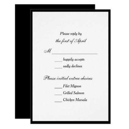 Classic Thin Border Wedding Reply Black Card weddinginvitations
