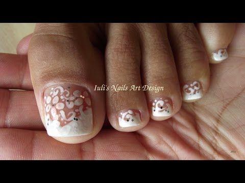 Wedding Toe Nail Art Design White On White French Pedicure Art