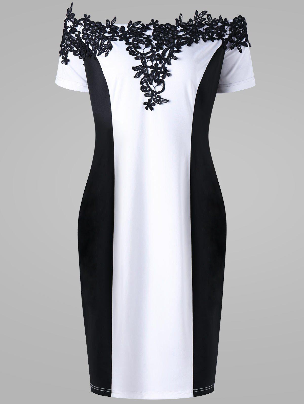 Plus Size Appliqued f The Shoulder Pencil Dress