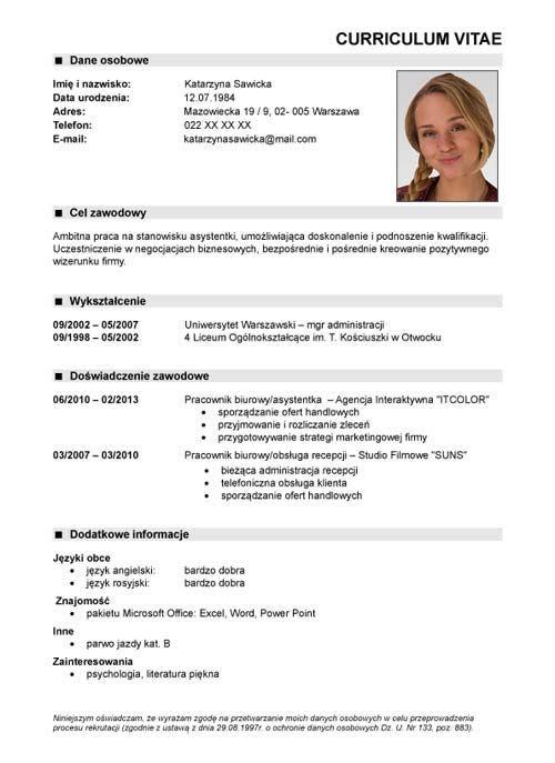 cv wzór nr 1 Pomysły do domu Pinterest Cv, 1! and Nr - cv