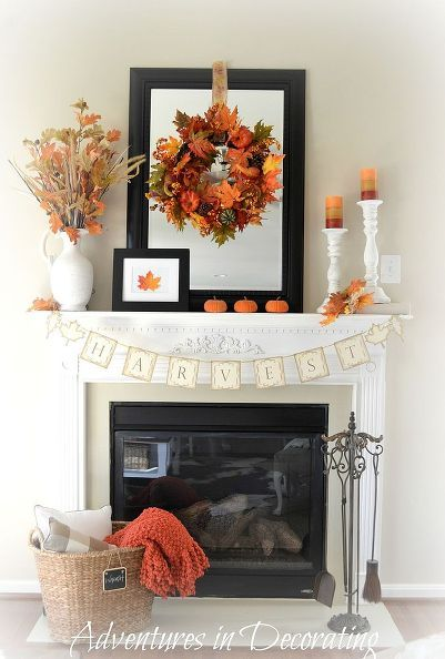 New Fall Home Decorated Great Room #fallmantledecor