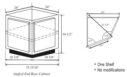 BAE24: Kitchen Angled Base Cabinet, End, 24